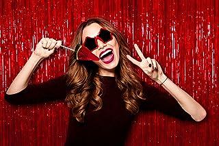 Lametta Vorhang mit Fransen, rot, metallisch, schimmernd, 90 x 200 cm, 1 Packung mit Weihnachts Fotorequisiten für Silvester, Party, Geburtstag, Valentinstag, Party, Verlobung, Party Dekorationen