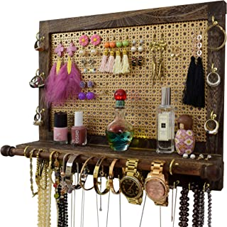 Rustic Jewelry Organizer Wall Mounted | Beautifully Hanging and Display Your Jewelry in One Place | Premium Decorative Mesh & Grooved Shelf | Perfect Jewlery Organizer and Holder For Women and Girls Rustic Wood Brown