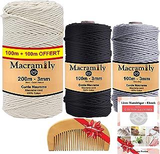 Corde macramé 3mm-Kit macramé-Fil macrame coton●BONUS|Fil macramé pour decoration murale|Kit attrape reve a fabriquer.Lois...