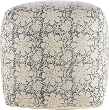"LR Home Bohemian Cottage Floral Cube Pouf, White/Navy, 20"" x 20"" x 20"""
