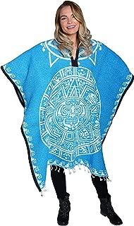 Threads West Authentic Mexican Poncho Reversible Cobija Blanket - Aztec Calendar