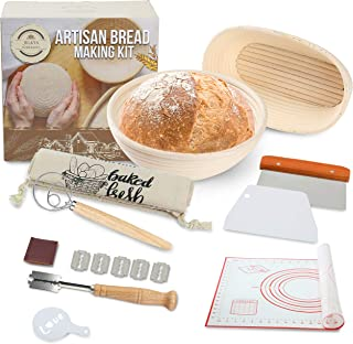 """JULKYA ARTISAN BREAD MAKING KIT, 9"""" AND 10"""" SOURDOUGH PROOFING BASKETS - SET OF 10 BREAD BAKING TOOLS FOR PROFESSIONALS AN..."""