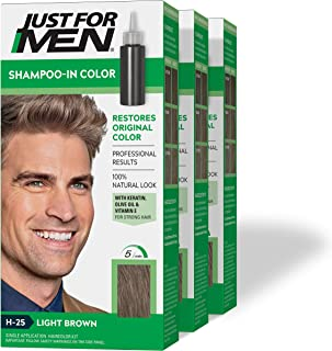 Just For Men Shampoo-In Color (Formerly Original Formula), Gray Hair Coloring for Men - Light Brown, H-25, Pack of 3 (Packaging May Vary)