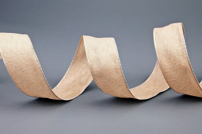 Aspect lin L/ég/èrement brillant Taffetas Taffetas /épais Pour No/ël et lAvent 103 Ruban d/écoratif Oliver beige - 3 m x 15 mm Avec bords m/étalliques