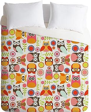 Deny Designs Valentina Ramos Cute Little Owls Duvet Cover, Queen