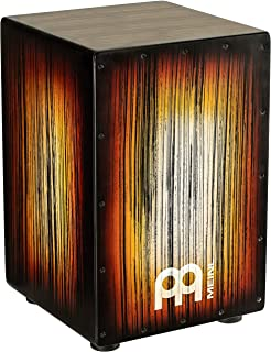 Meinl Percussion Cajon Box Drum with Internal Metal Strings for Adjustable Snare Effect-NOT Made in China-Amber Tiger Stripe Full Size, 2-YEAR WARRANTY, HCAJ2AMTS