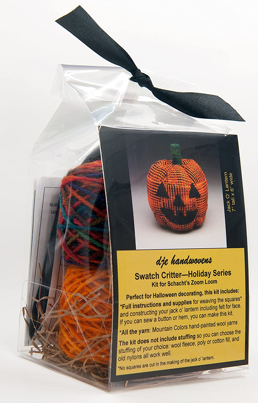 DJE Handwovens Swatch Critter Holiday Series Kit for Schacht Zoom Loom (Jack o' Lantern)