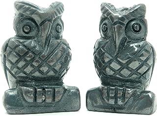 "Satin Crystals Hematite Animal Bird Set 1"" Premium Genuine Black Stone Carving Wise Owl Figurine Perching Pair P01"