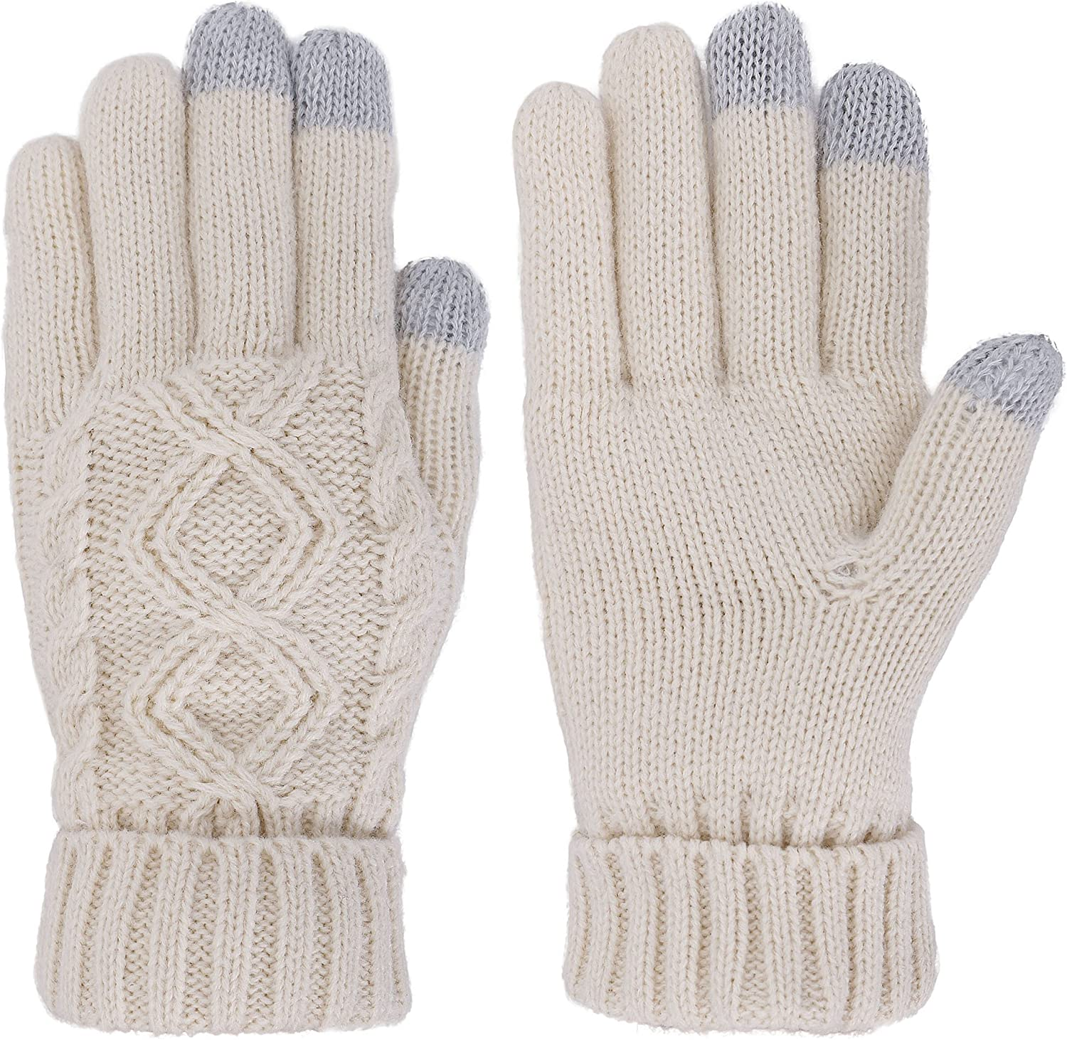 Lullaby Unisex Men Womens Touchscreen Sensitive Cable Knit Ourdoor Winter Gloves