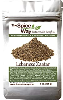 The Spice Way - Traditional Lebanese Zaatar with Hyssop   6 oz   (No Thyme that is used as an hyssop substitute) Freshly Grown Seasoning. No Additives, No Perservatives (Za'atar/zatar/zahtar/zahatar)