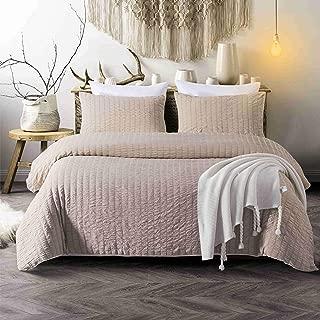 CHENFENG Duvet Cover King Set 3 Piece Seersucker Striped Comforter Hotel Bedding Set Collection,Camel
