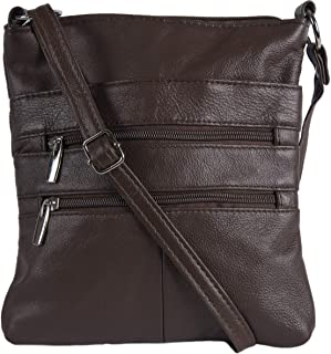 Viosi Small Leather Crossbody Bag with Multiple Pockets and Adjustable Strap