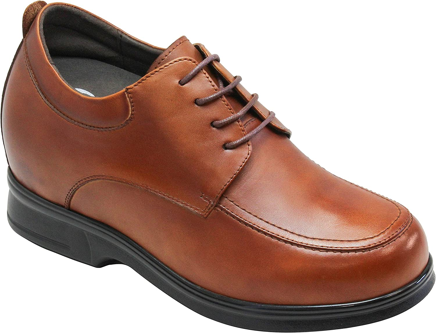 CALTO Men's Invisible Height Increasing Elevator shoes - Brown Premium Leather Lace-up Casual Oxfords - 4.4 Inches Taller - T52631