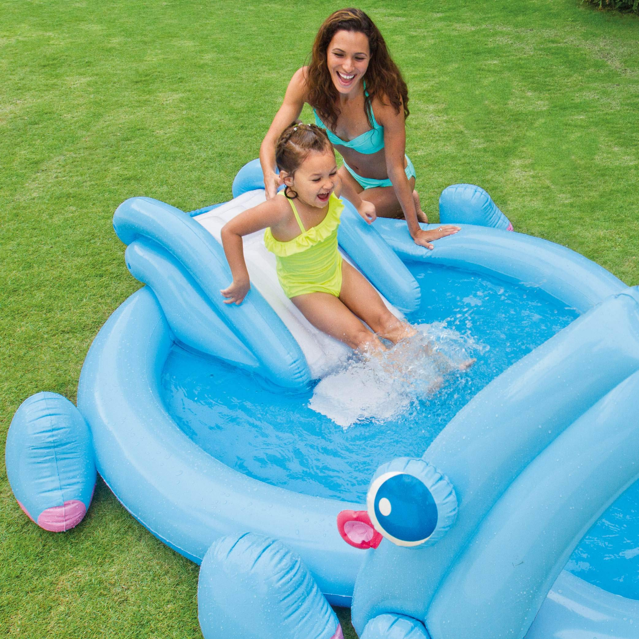 for Ages 2+ 87 x 74 x 34 Intex Recreation Group Import 57150EP Intex Hippo Play Center with Built-in Slide 87 x 74 x 34