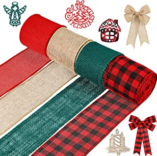4 Roll Christmas Wrap Burlap Ribbons 2 Inch x 22 Yard Plaid Ribbon, Burlap Craft Ribbon for DIY Wrapping, Fall Crafts Deco...