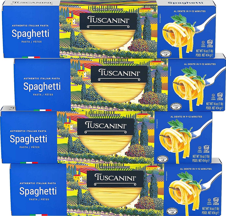 Tuscanini Authentic Italian Spaghetti Pasta 16oz (4 Pack) Made w