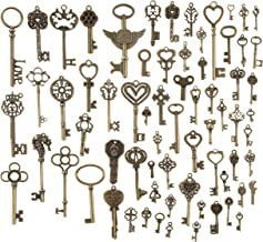 Skeleton Key Charms - 70-Piece Mixed Key Charms Bulk, Antique Pendants, Jewelry Charms for Craft Keychains, Bracelets, Necklaces, DIY Jewelry Making Supplies, Assorted Designs and Sizes