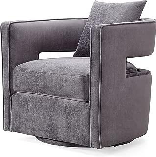 TOV Furniture Kennedy Modern Handmade Velvet Swivel Chair, Gray