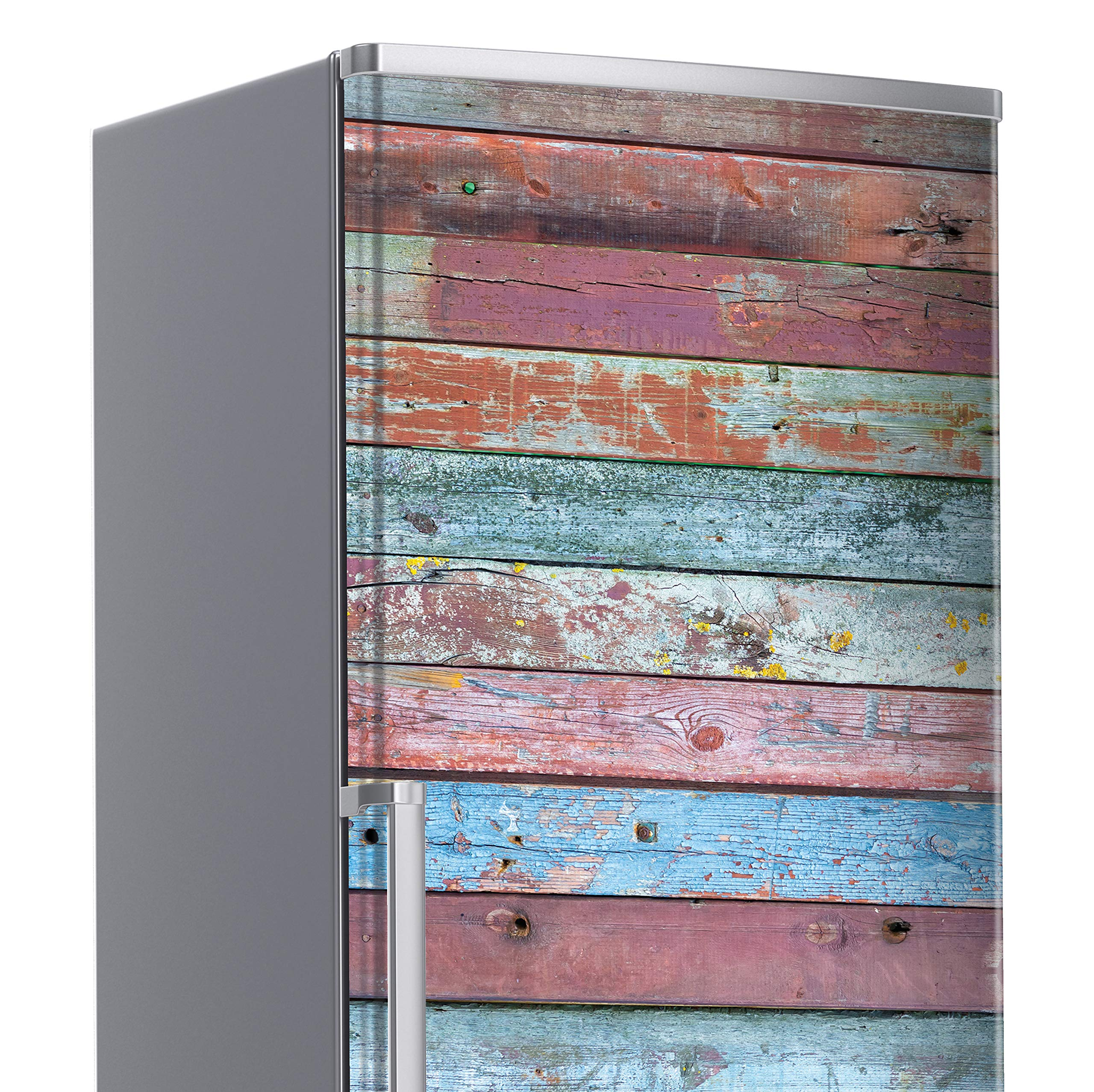 MEGADECOR Vinilo Adhesivo Decorativo para Nevera con Efecto Tablas de Madera Viejas de Colores Gastados 185 cm x 60 cm Varias Medidas