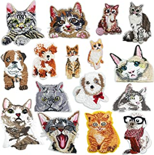 Woohome 16 PCS Cat and Dog Iron On Patches Assorted Cute Kitten Mini Cats Sew On Patches DIY Decoration or Repair, Embroidered Appliques for Clothing Backpacks Jeans T-Shirt Caps Shoes