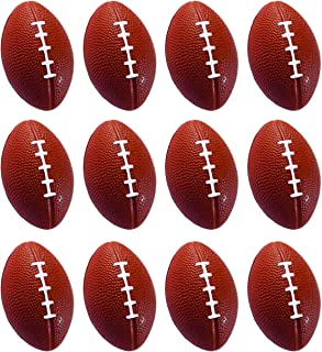 Present Avenue Mini Toy Balls for Kids Party Favor Toy, Soccer Ball, Basketball, Football, Baseball Emoji Squeeze Ball (12 Pack) Squeeze Foam for Stress, Anxiety Relief, Relaxation. (Football)
