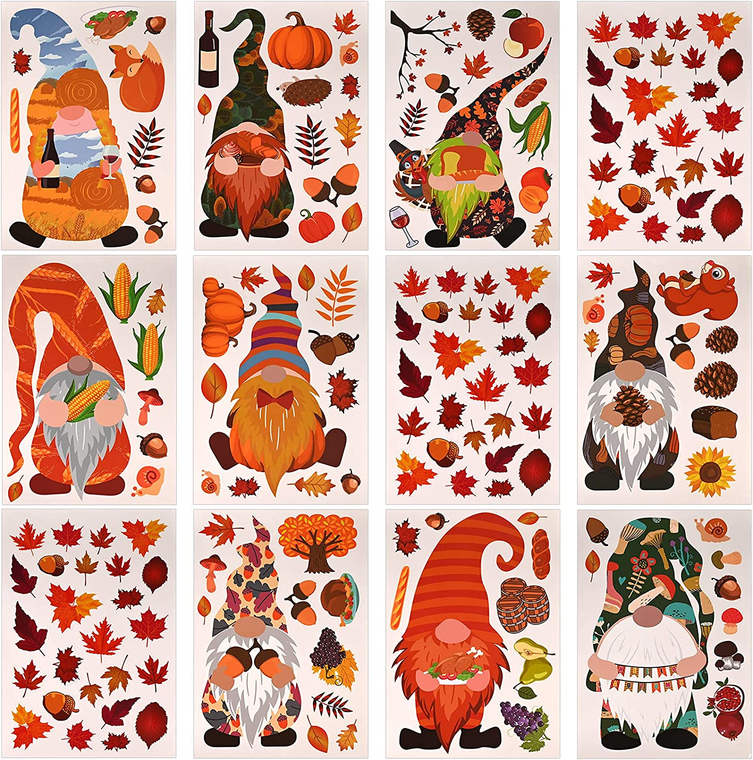 168 PCS Thanksgiving Fall Finally popular brand Credence Window Sheets Double-Side Clings A 12