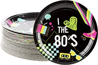 Disposable Plates - 80-Count Paper Plates, Totally 80s Party Supplies for Appetizer, Lunch, Dinner, and Dessert, Kids Birthdays, 9 x 9 Inches
