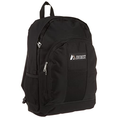 Everest Luggage Backpack with Front and Side Pockets, Black, Large