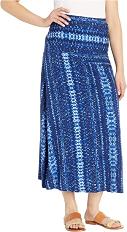 Long Printed Jersey Skirt w/ Back Detail
