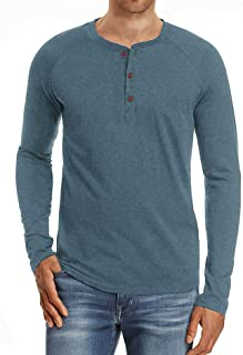 Men's Casual Basic Shirts Regular Solid Color Henley T-Shirt Cotton Long Sleeve Sweatshirt