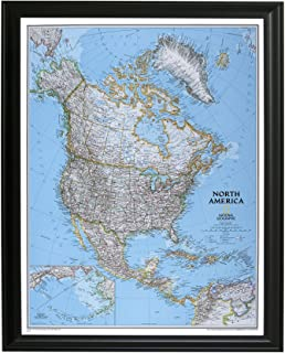 Classic North America Push Pin Travel Map with Black Frame and Pins