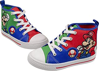 SUPER MARIO Brothers Mario Luigi Kids Shoe, Nintendo Hi Top Sneaker Laces,Toddlers Kids, Size 7 to 12