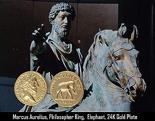 Golden Artifacts Marcus Aurelius and Elephant, Philosopher King, Roman Coins, Roman Empire (26-G)