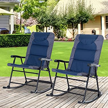 Outsunny Folding Rocking Chair Set Pack of 2 Padded Rockers with Armrest, Navy Blue/Grey