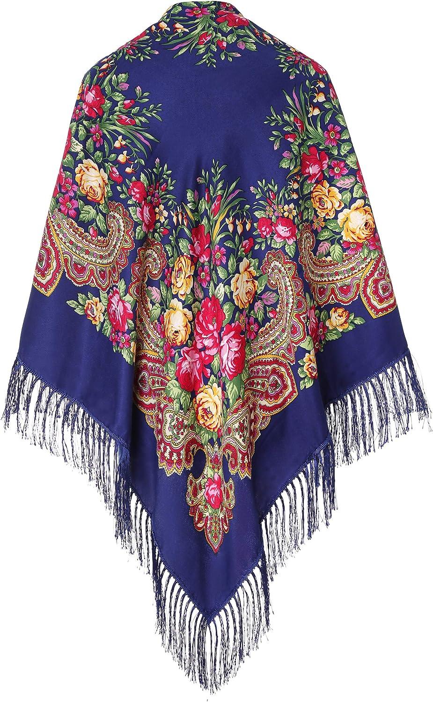 Halstuch mit traditionellem ukrainischem//polnischem//russischem Blumenmuster und Fransen