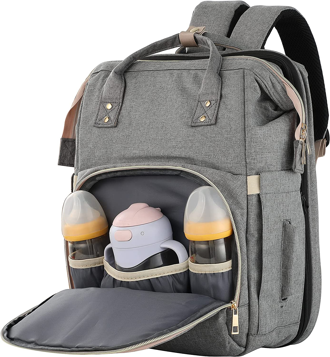 Diaper Bag with Expandable Changing Station for Baby, Large Capacity and Waterproof Fulfill Dad and Mom on Multi-Using for Boy and Girl Babies (Grey)