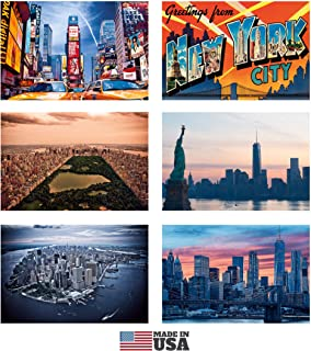 """Set of 6 New York Refrigerator Magnets - Souvenir Set of Double-Sided Fridge Magnets with Great Print Quality on Both Sides and Interesting NY Facts on Back Side. 3"""" x 4.5"""". Made in USA"""