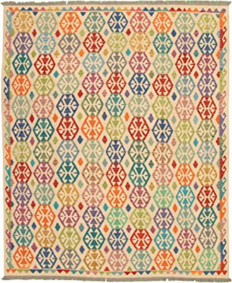 "eCarpet Gallery Large Area Rug for Living Room, Bedroom | Hand-Knotted Wool Rug | Sivas Bordered Ivory Kilim 8'4"" x 9'10"" 