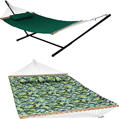 Sunnydaze Tropical Greenery 2-Person Capacity Quilted Printed Fabric Spreader Bar Hammock and Pillow - Large Modern Cloth Hammock with Metal S Hooks and Hanging Chains and Green Quilted 2-Person Hammo