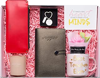 Swgglo Teacher Appreciation Gift - Teacher Gifts Includes Pink Marble Mug,Notebook,Pencil Case,Key Chain,Scented Candle,Fl...