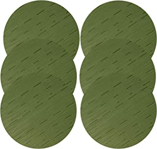 U'Artlines 14 Inch Round Placemats PVC Non Slip Heat Resistant Vinyl Woven Table Mats for Dinner Parties, BBQs, Indoor and Ourdoor Use (6pcs placemats, C Green)