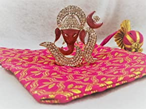 Colors Team USA Pink Metal Studded OM Ganesh Set with Gift Bag and Festive Message, Ganesha/Ganpati Idol for Temple, Car D...