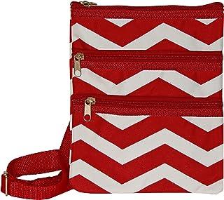 (Red White Chevron) - World Traveller Womens 23cm Swingpack Purse Bag, Red White Chevron, One Size