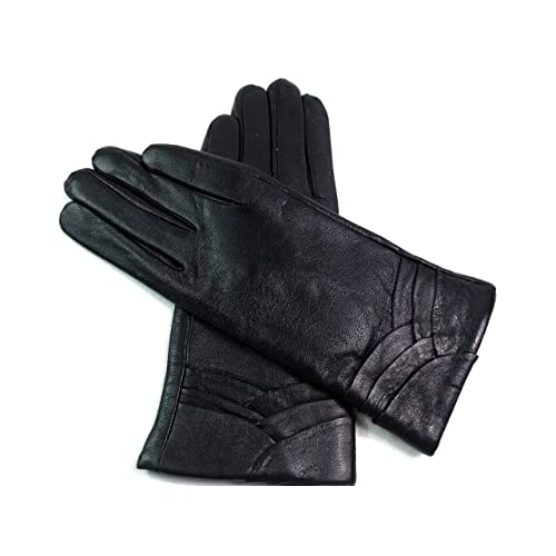 5937e9aeb01cd Ladies Soft Genuine Leather Lined Gloves Overlap Detail