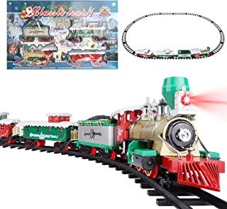 Roxie Classic Metal Alloy Christmas Express Train Set for Around The Tree with Sounds and Lights, Large Tracks and Train C...