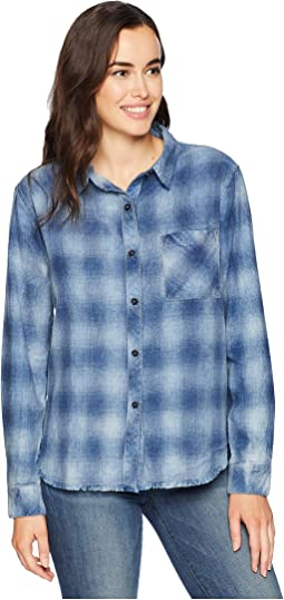 Shadow Plaid Vintage Washed One-Pocket Shirt with Fringe Hem Detail