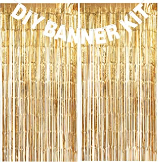 DIY Banner Kit - White Letters & Symbols w/Gold Tinsel Backdrop - Customize Your Birthday Party, Wedding Party, Graduation Party, Bachelorette Party and Gender Reveal (Letters A-Z & Numbers 0-9)