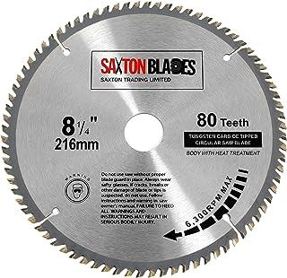 TCT21680T Saxton TCT cirkulärt träsågblad 216 mm x 30 mm x hål x 80T för Bosch Makita Dewalt