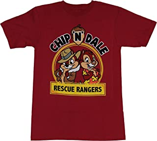 Chip N Dale Mens T-Shirt - Rescue Rangers Circle Logo Back to Back