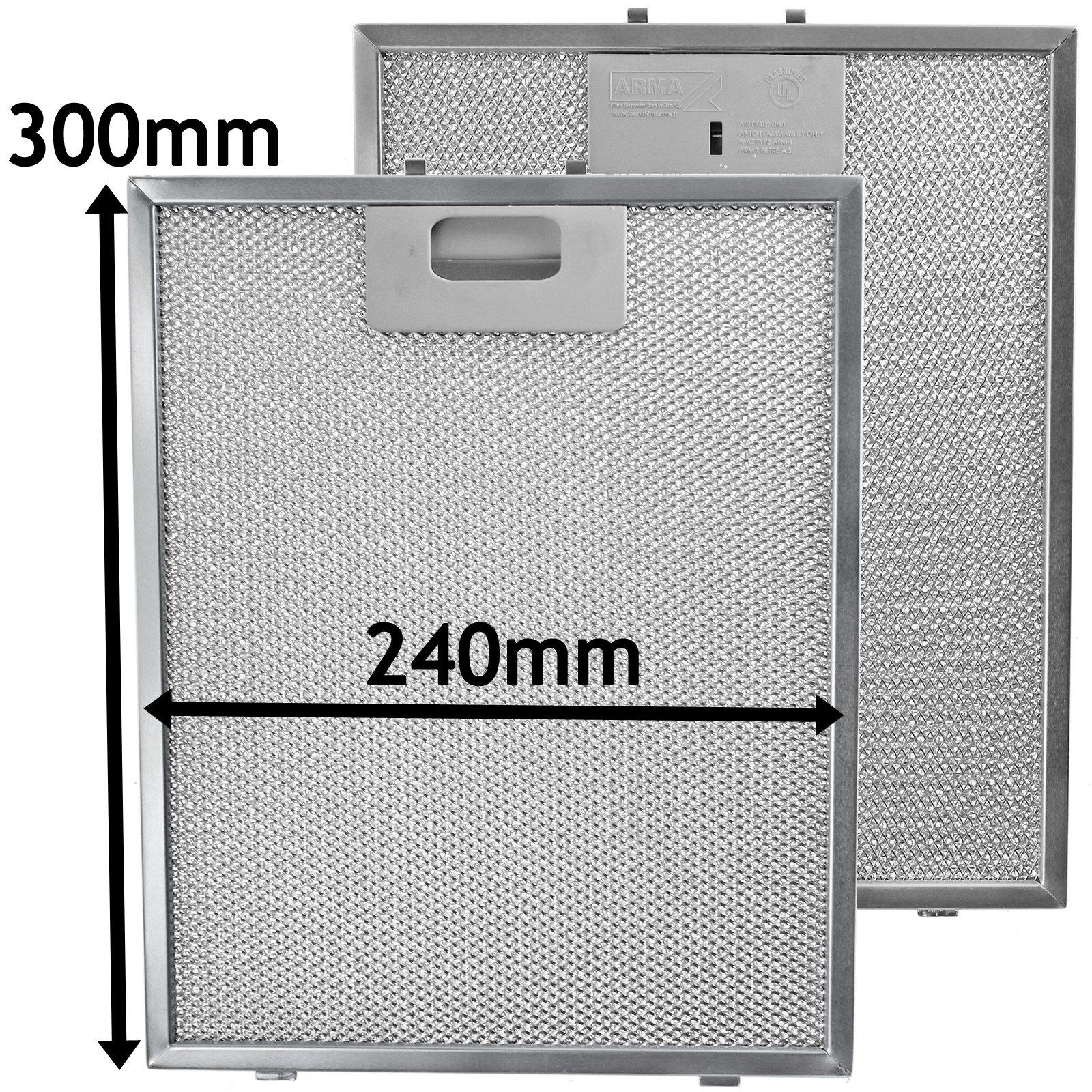 Spares2go Malla Metálica Filtro para Indesit Campana extractora/cocina Extractor Ventilación (Pack de 2 filtros, Plata, 300 x 240 mm): Amazon.es: Hogar